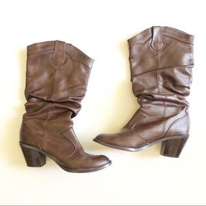 Soda Heeled Boots Brown Faux Leather Western Sz 9